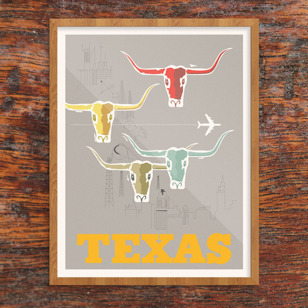 Texas Oil & Longhorns 11 x 14 Print