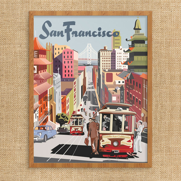 San Francisco Cable Car & Bay Bridge View 11 x 14 Print