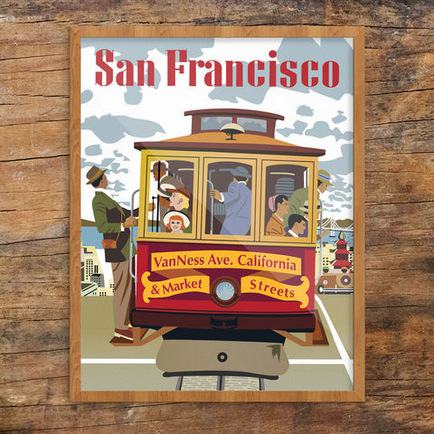 San Francisco Van Ness Ave Cable Car 11 x 14 Print
