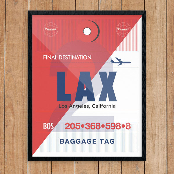 LAX Luggage Tag 11 x 14 Print