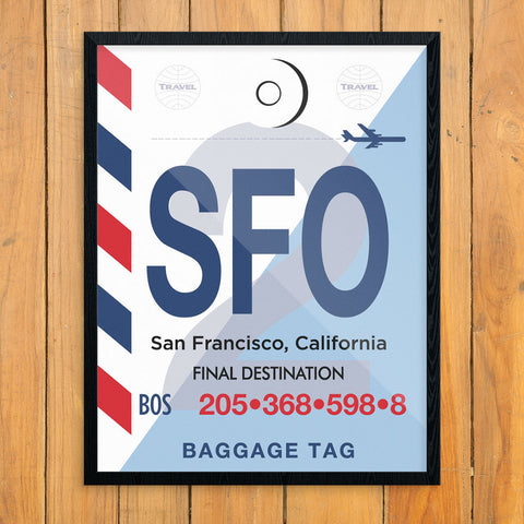 San Francisco SFO Luggage Tag 11 x 14 Print