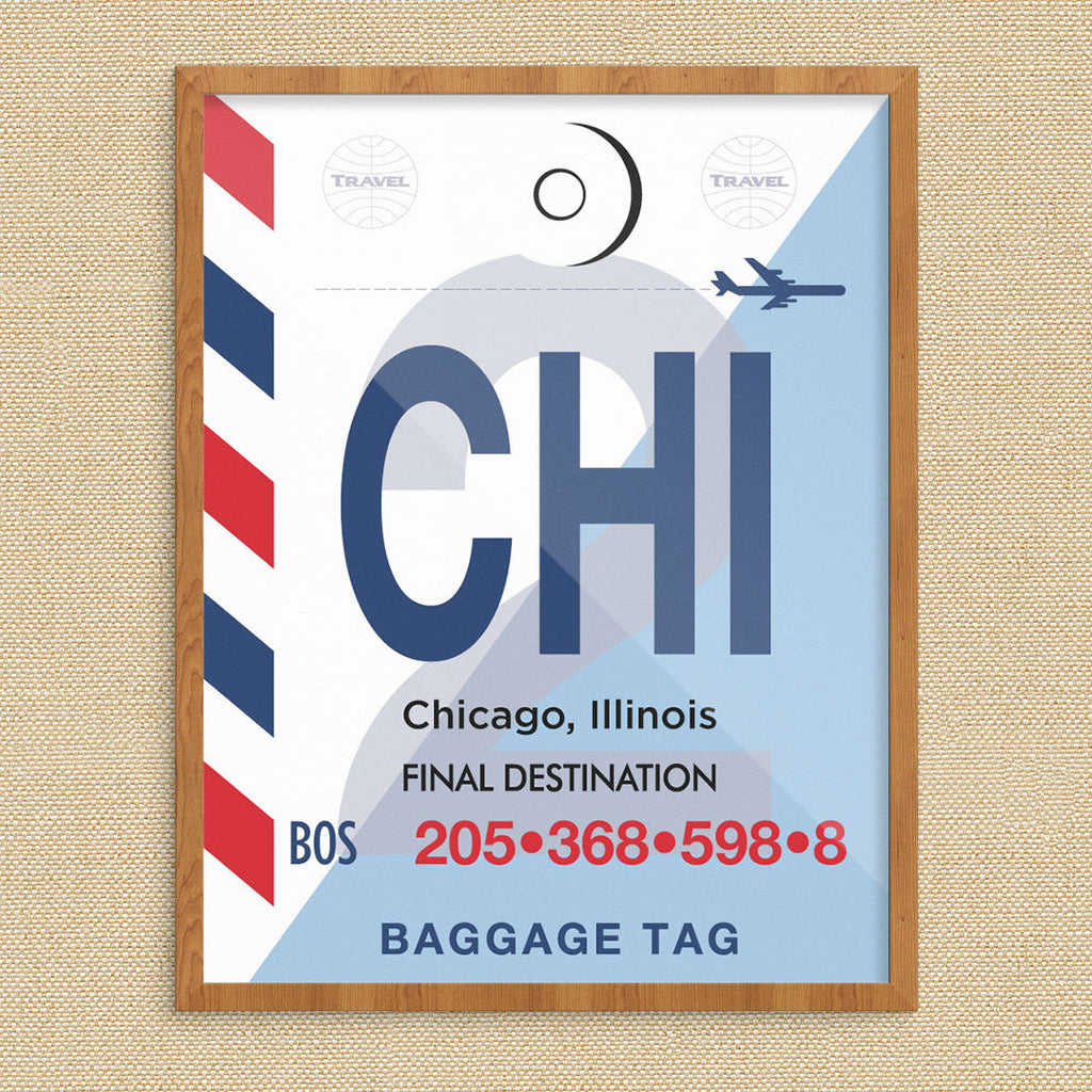 Chicago Striped Luggage Tag 11 x 14 Print