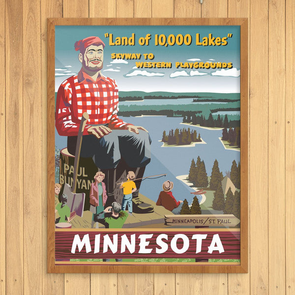 Minnesota Paul Bunyan Land of 10,000 Lakes Travel Poster Print