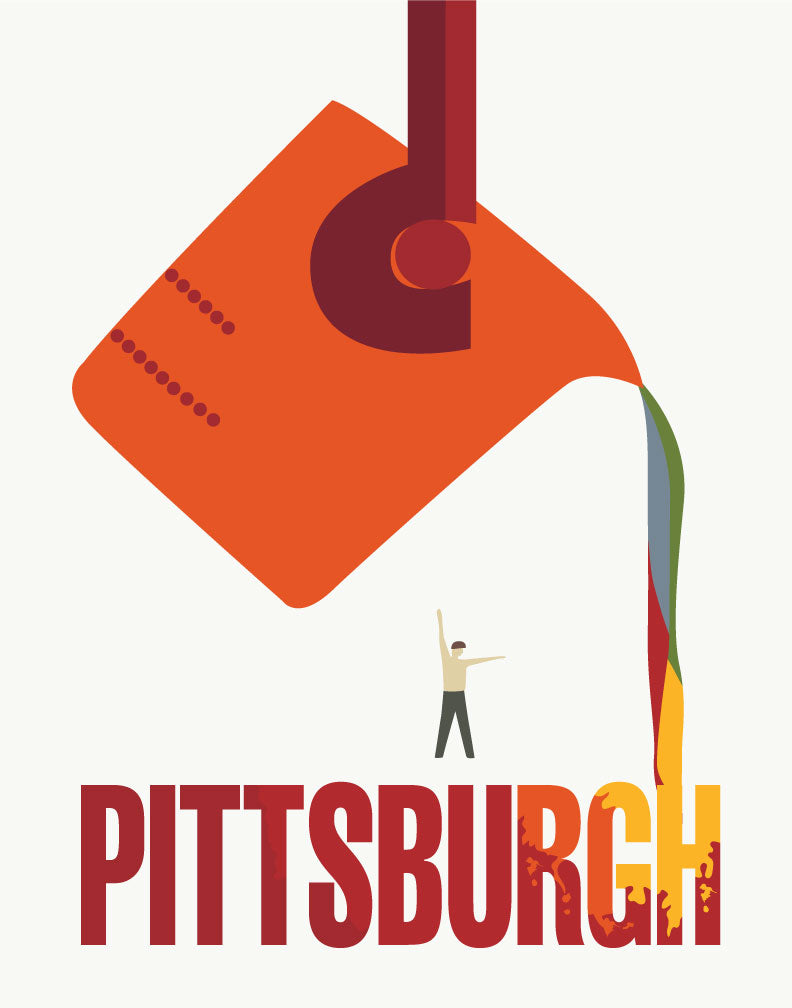Pittsburgh The Steel City Travel Poster Magnet