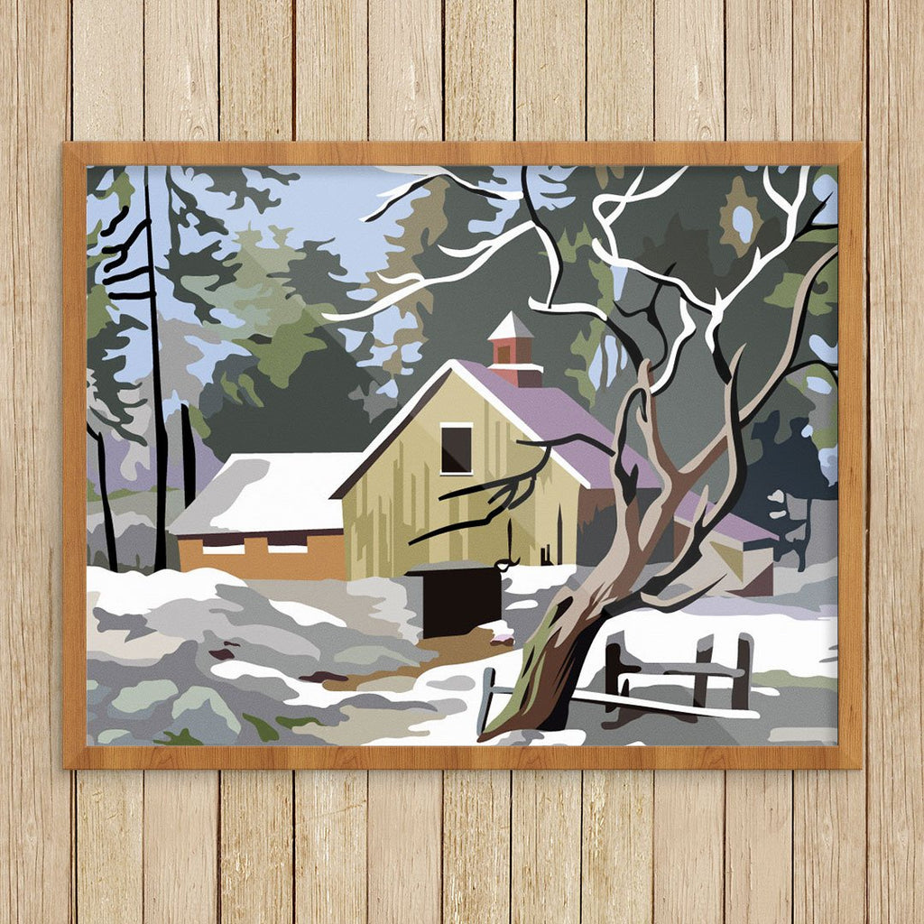 Paint By Number Snowy Barn Print