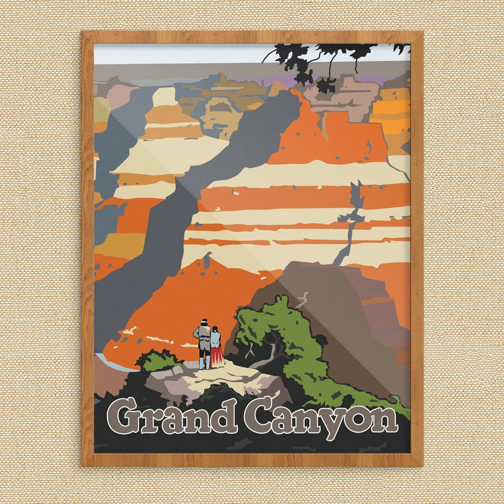 Grand Canyon Indian Couple Travel Poster Print