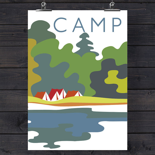 Camp Colorful Campsite 11 x 14 Print