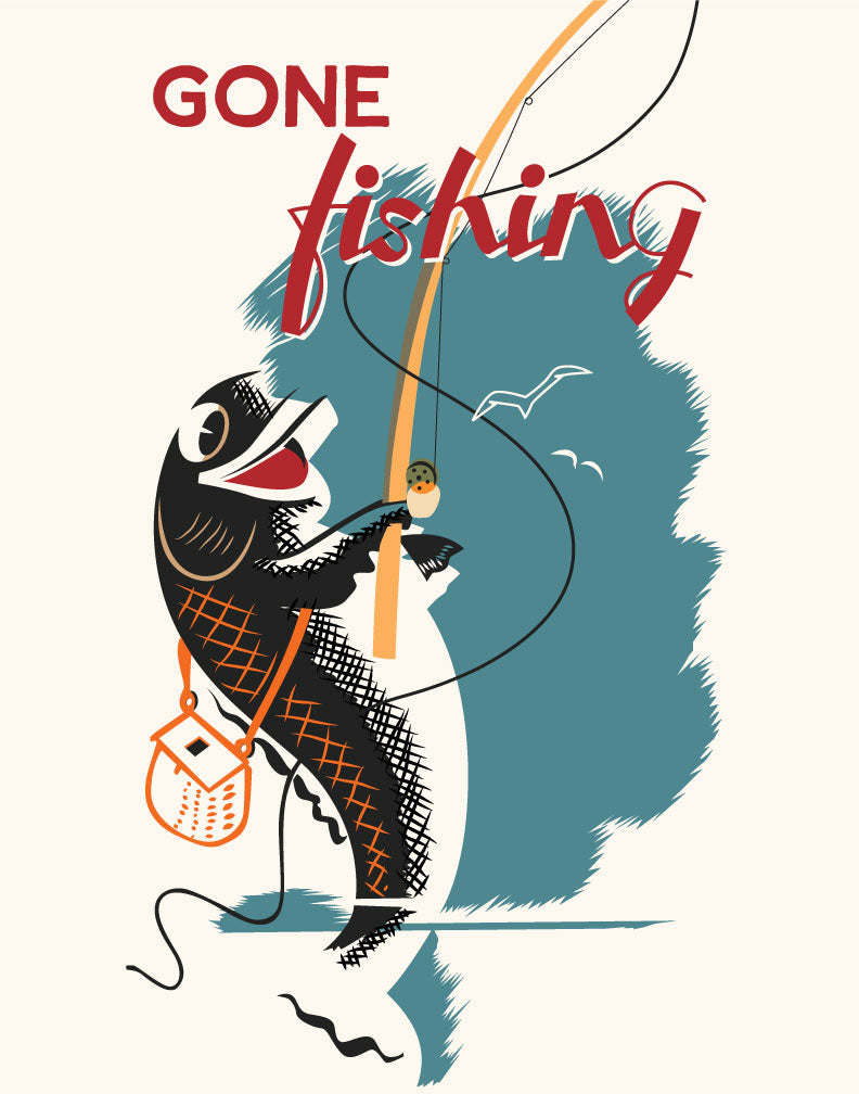 Gone Fishing Retro Print Magnet
