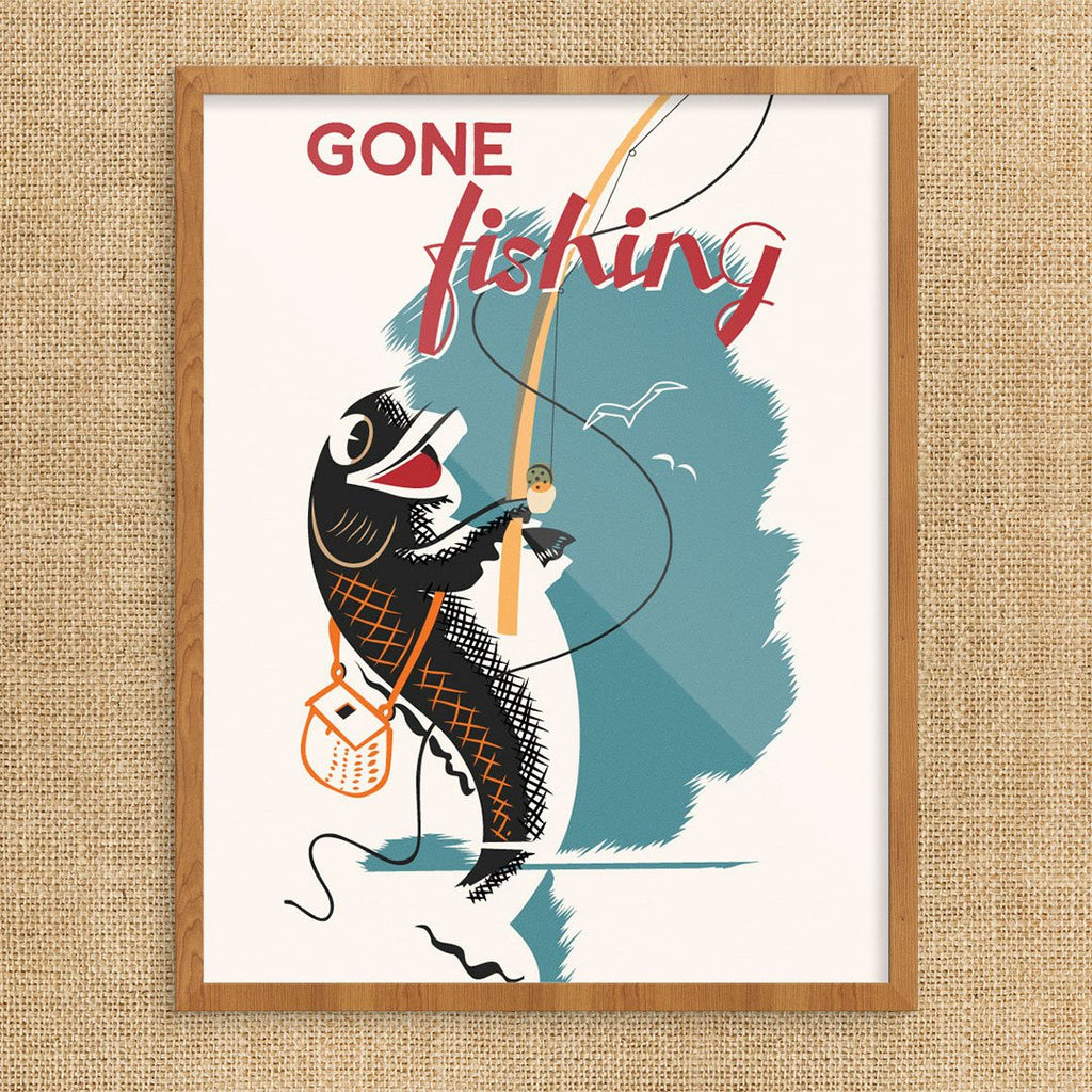 Gone Fishing Retro 11 x 14 Print