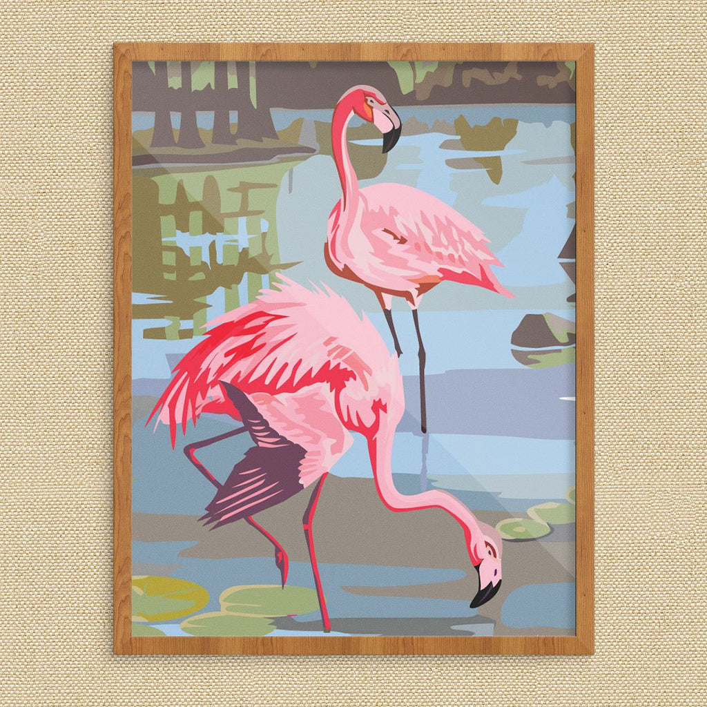 Paint bBy Numbers Pink Flamingos Print