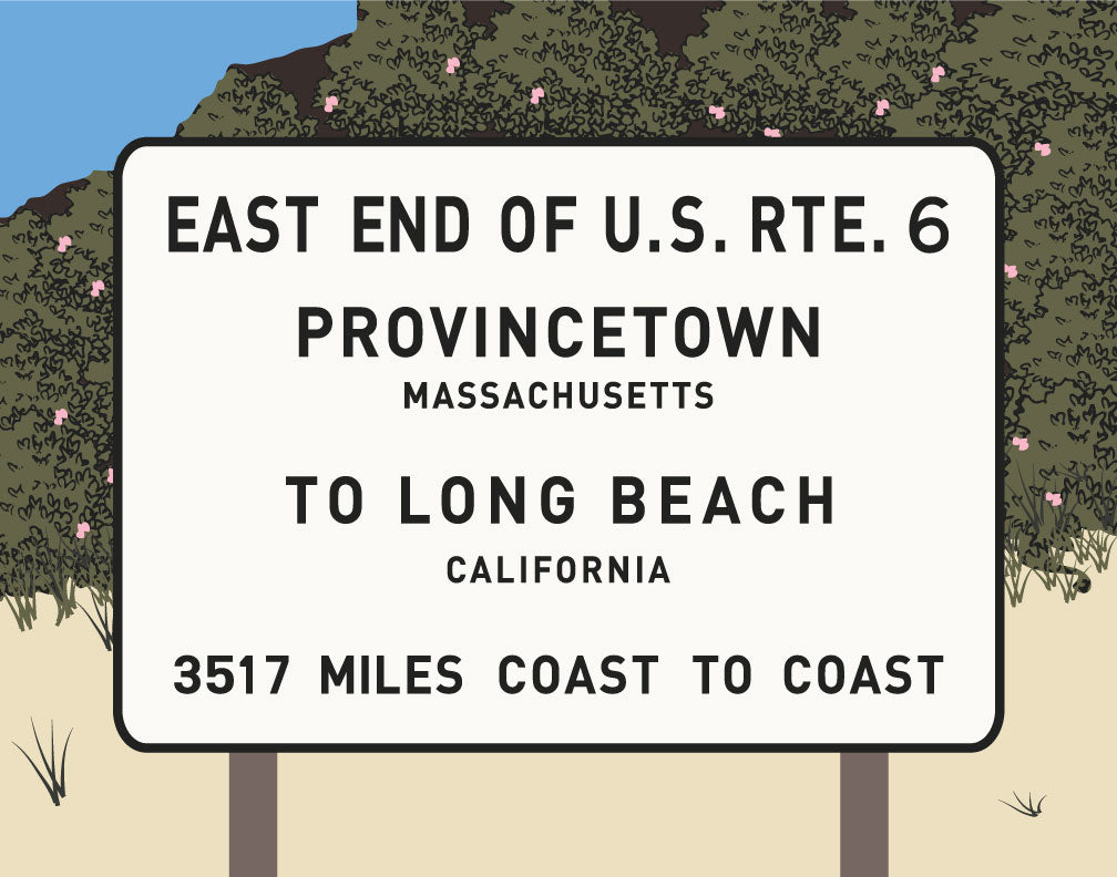 RTE 6 Provincetown to Long Beach Sign Magnet