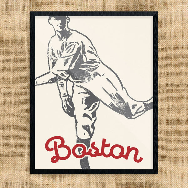 Boston Retro Baseball Player Print
