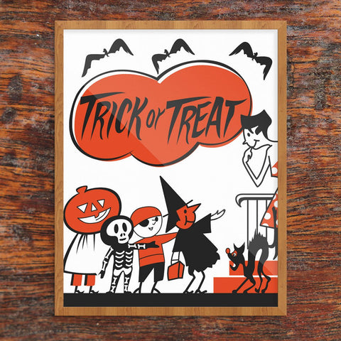 Trick Or Treaters at The Door Print