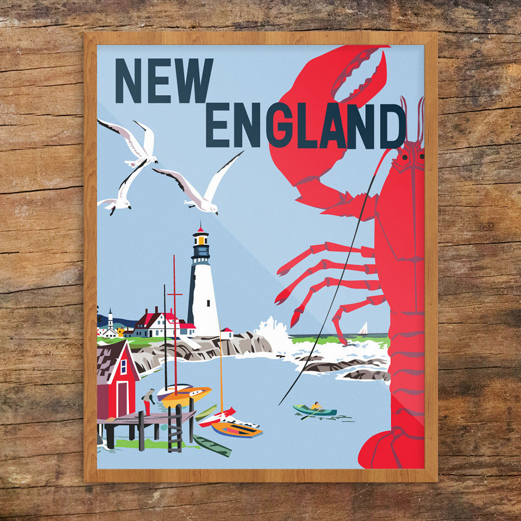 New England Lobster & Seaside 11 x 14 Print