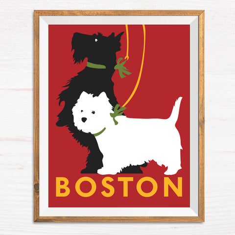 Boston Scotties Dogs Print