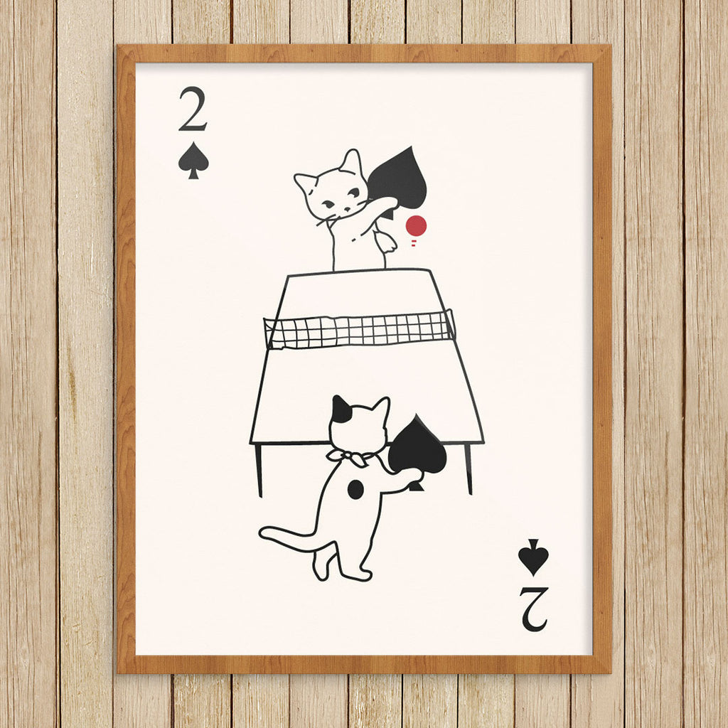 Cats Playing Ping Pong 11 x 14 Print