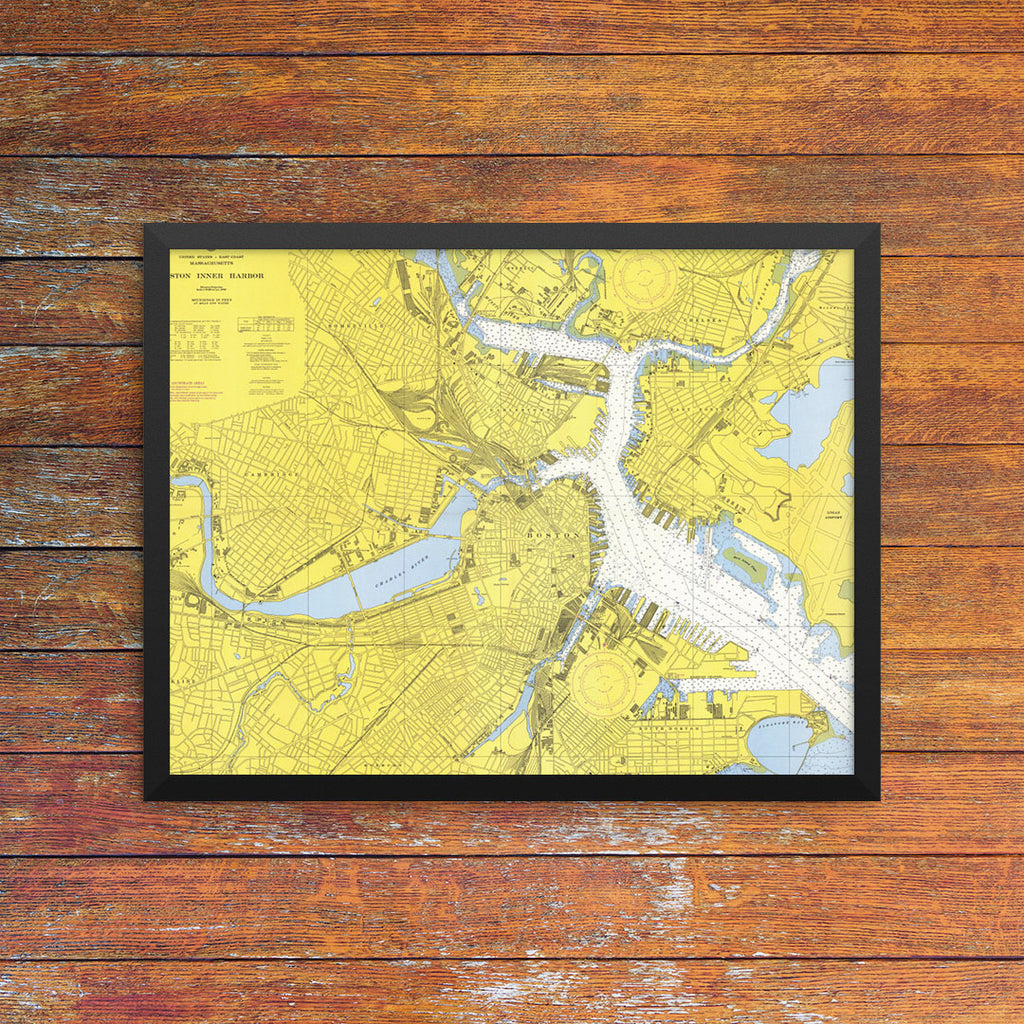 Boston Inner Harbor Nautical Chart 11 x 14 Print