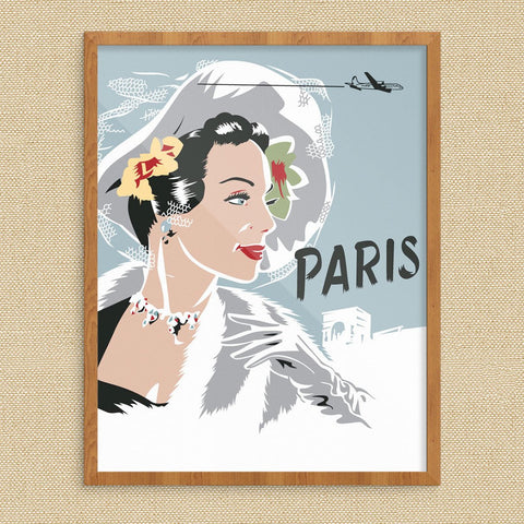 Elegant Women in Paris Travel Poster Print