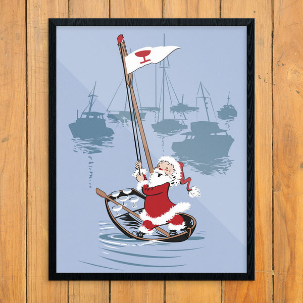 Rowing Santa Delivers Cocktails 11 x 14 Print