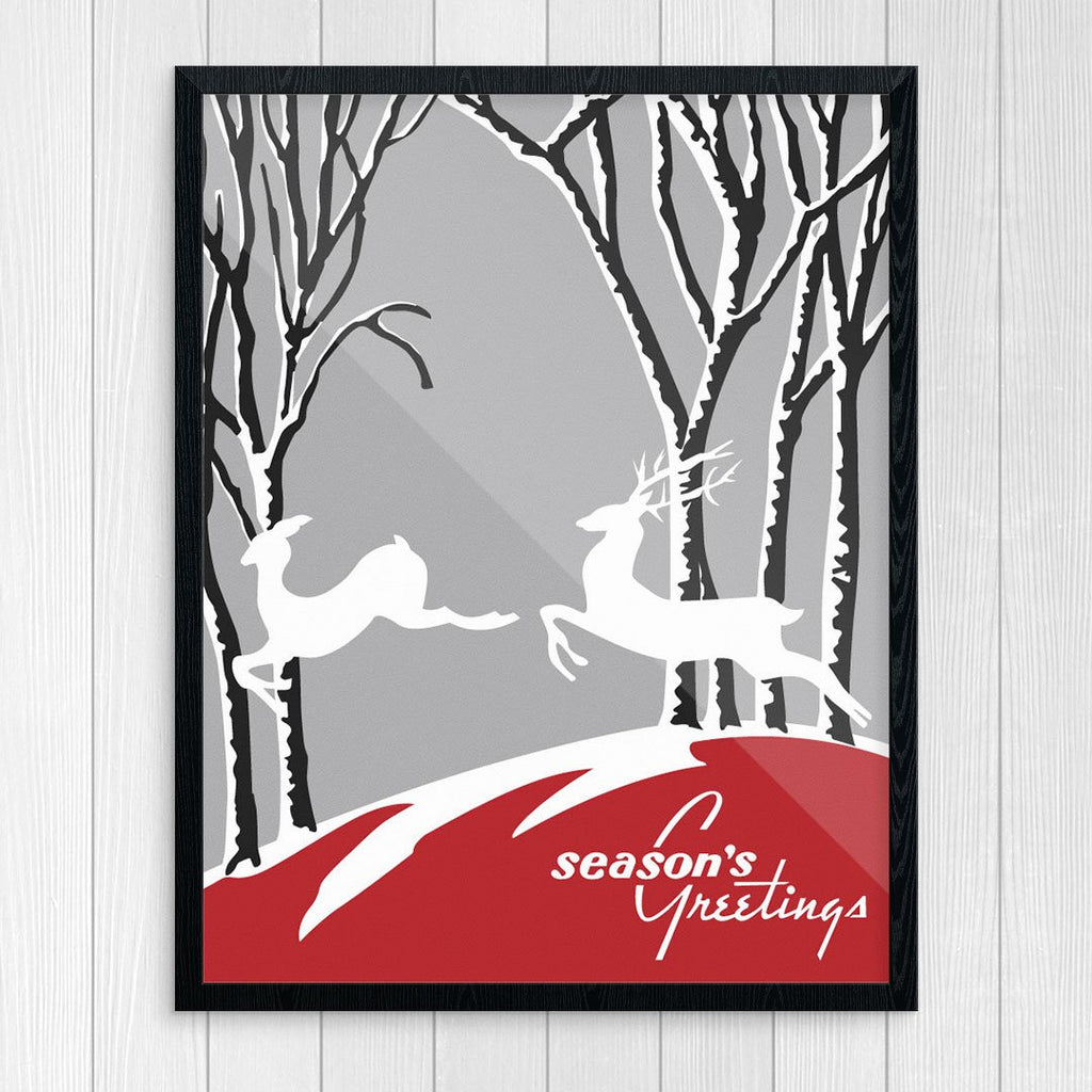 Leaping Deer Seasons Greetings Print