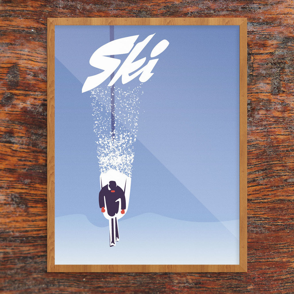 Skiing Through Powder 11 x 14 Print