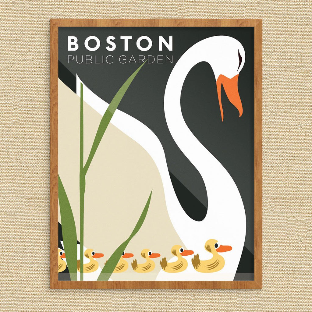 Boston Public Garden Swan & Ducklings Print