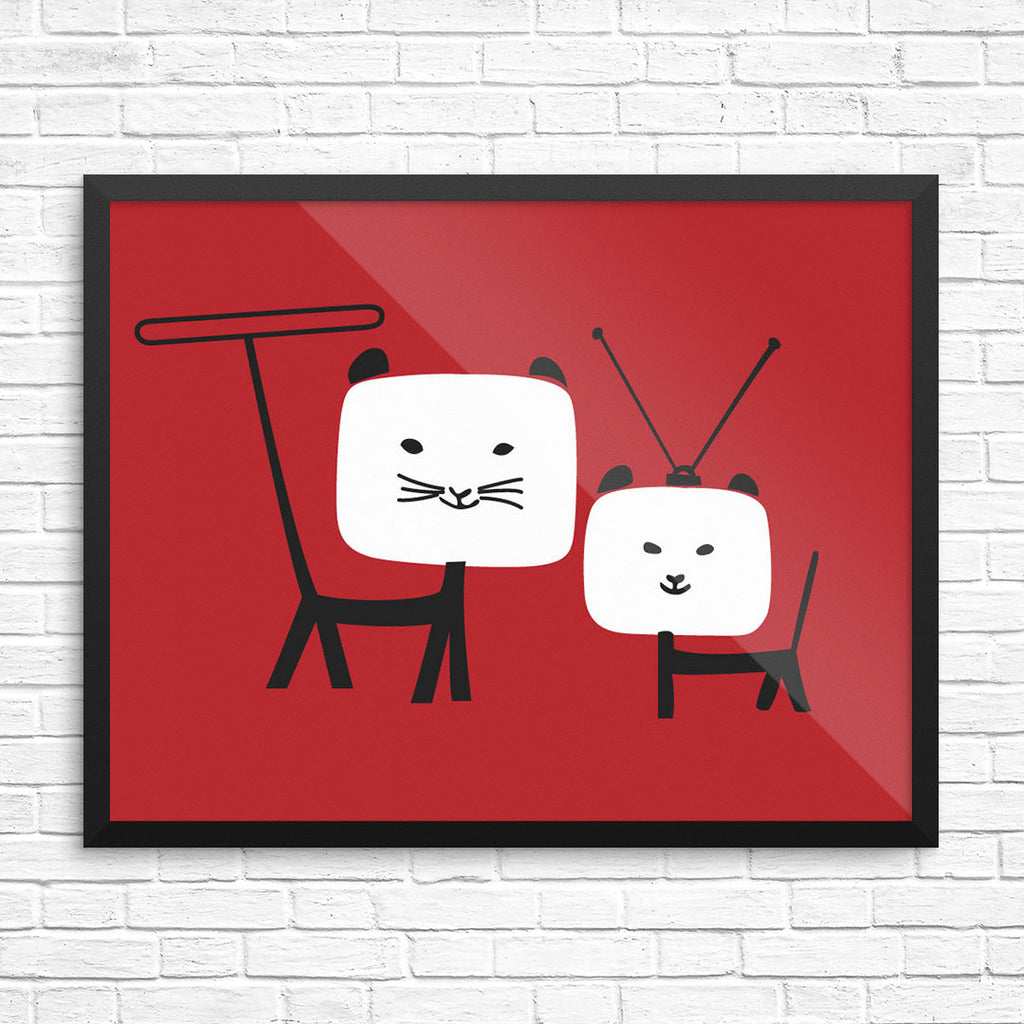 Binge Wathing TV Cats Print