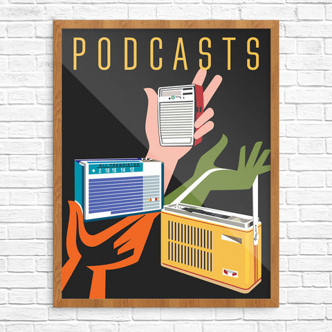Podcasts Transistor Radios 11 x 14 Print