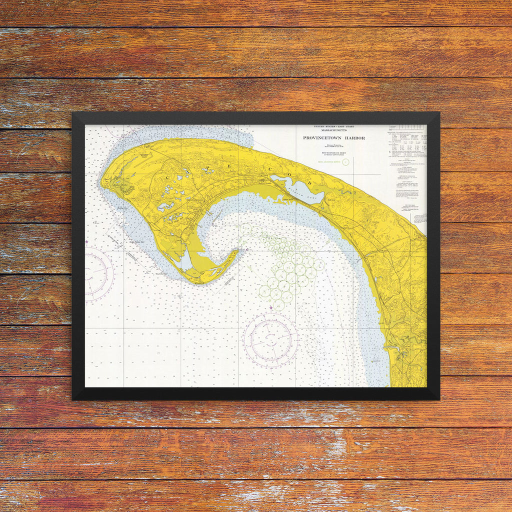 Provincetown Harbor Nautical Chart 11 x 14 Print