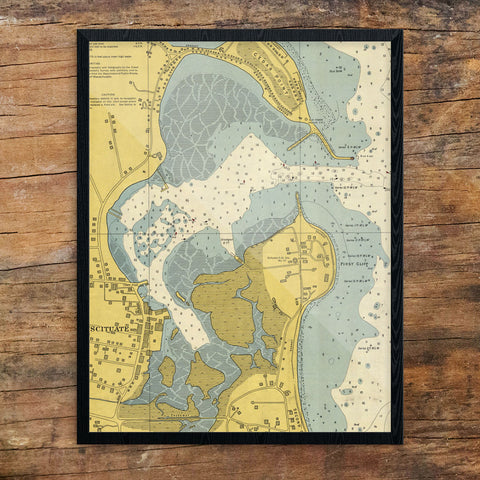 Scituate Harbor Nautical Chart 11 x 14 Print