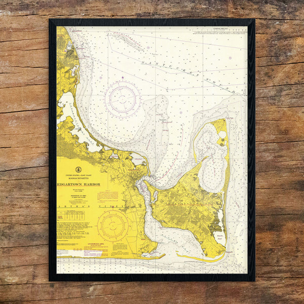 Edgartown Harbor Nautical Chart 11 x 14 Print