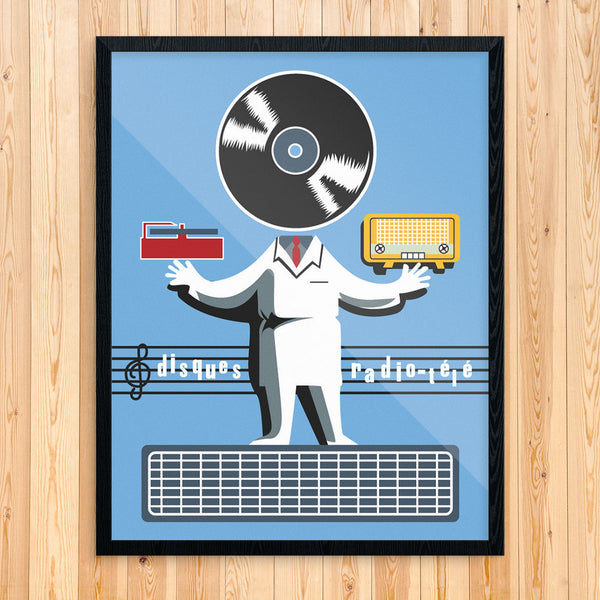 Disques  LP & Radio Man 11 x 14 Print