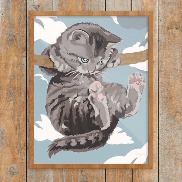 Hang In There Cat Paint By Number 11 x 14 Print