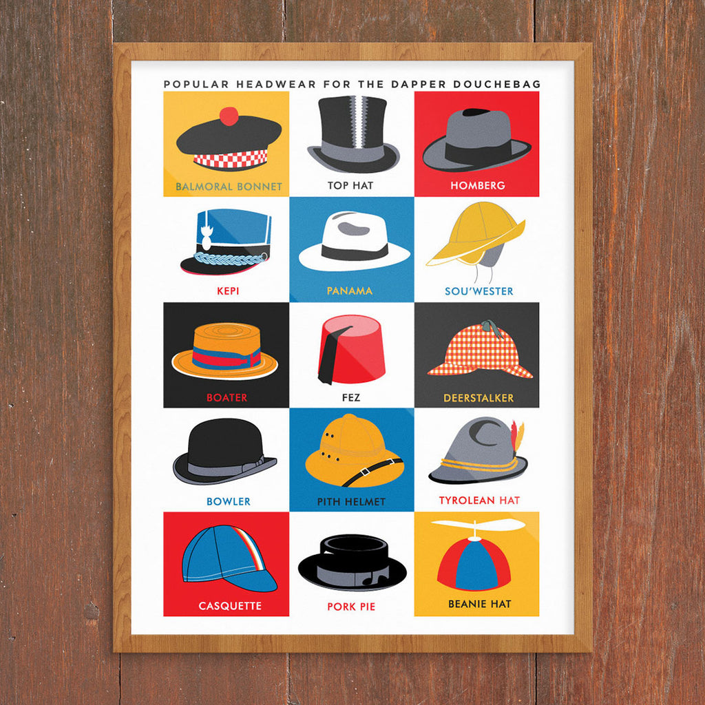 Popular Headwear for the Dapper Douchebag 11 x 14 Print