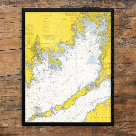 Buzzard's Bay Nautical Chart 11 x 14 Print