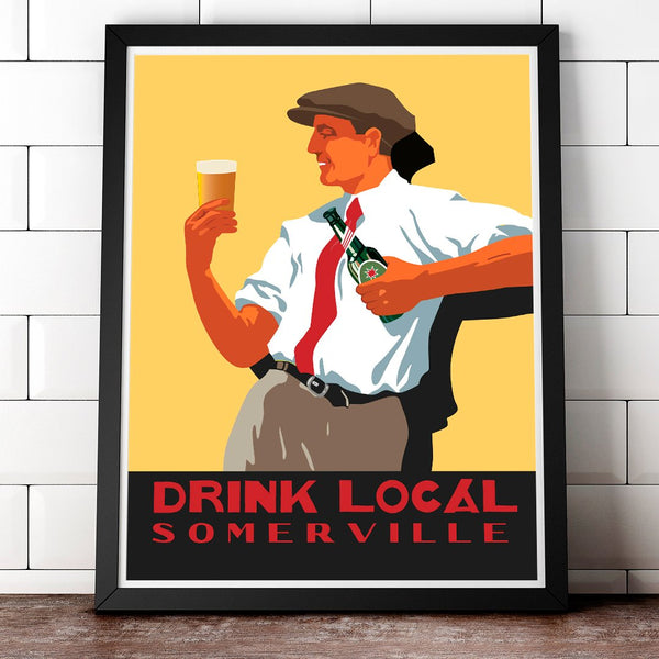 Scally Cap Drink Local Somerville 11 x 14 print