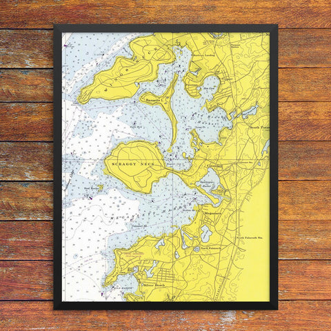 Cataumet, Megansett & Red Brook Harbor Nautical Chart 11 x 14 Print