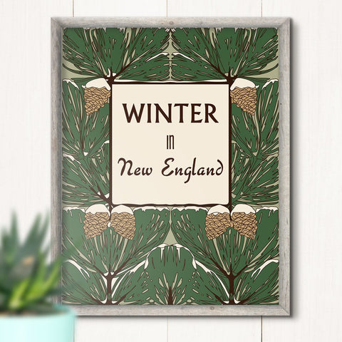 Winter in New England Pinecones 11 x 14 Print