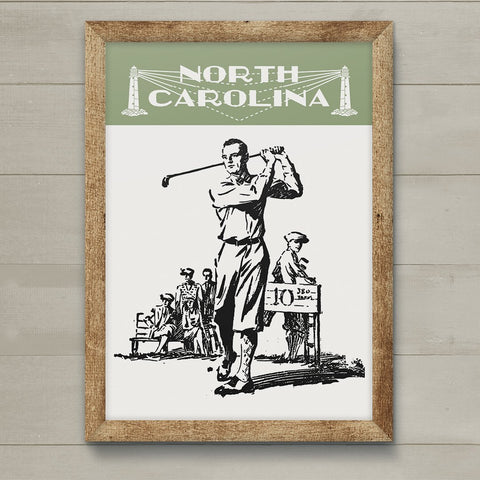 Vintage North Carolina Golfer 11 x 14 Print