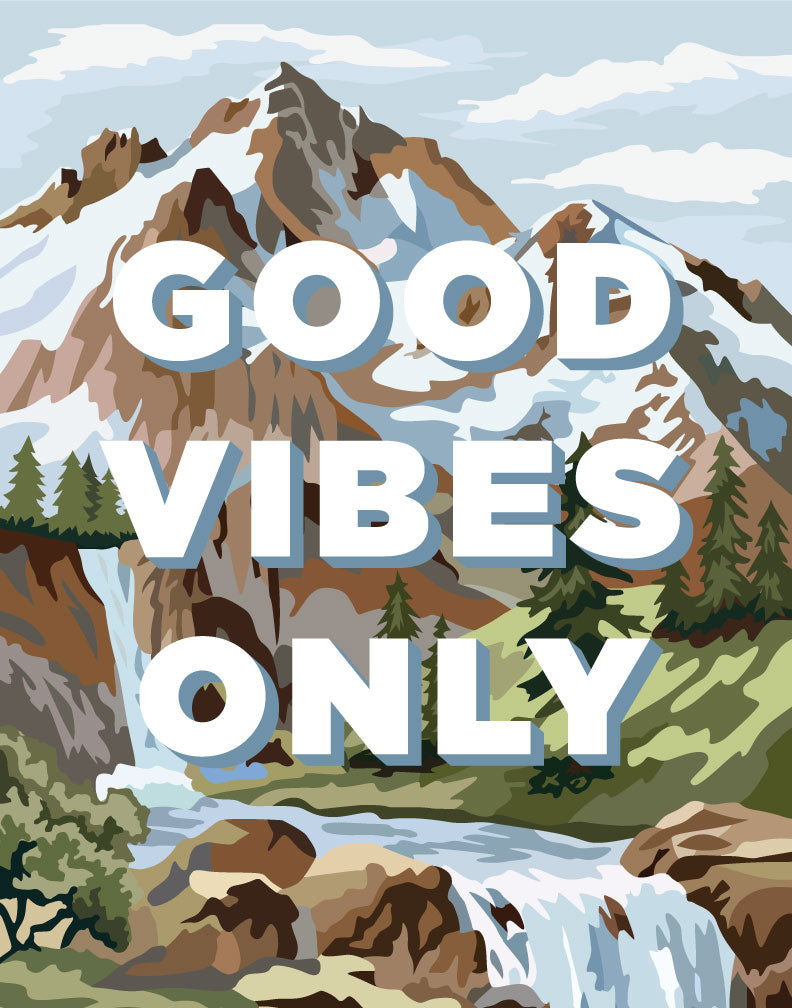 Good Vibes Only PBN Mountain Scene Magnet