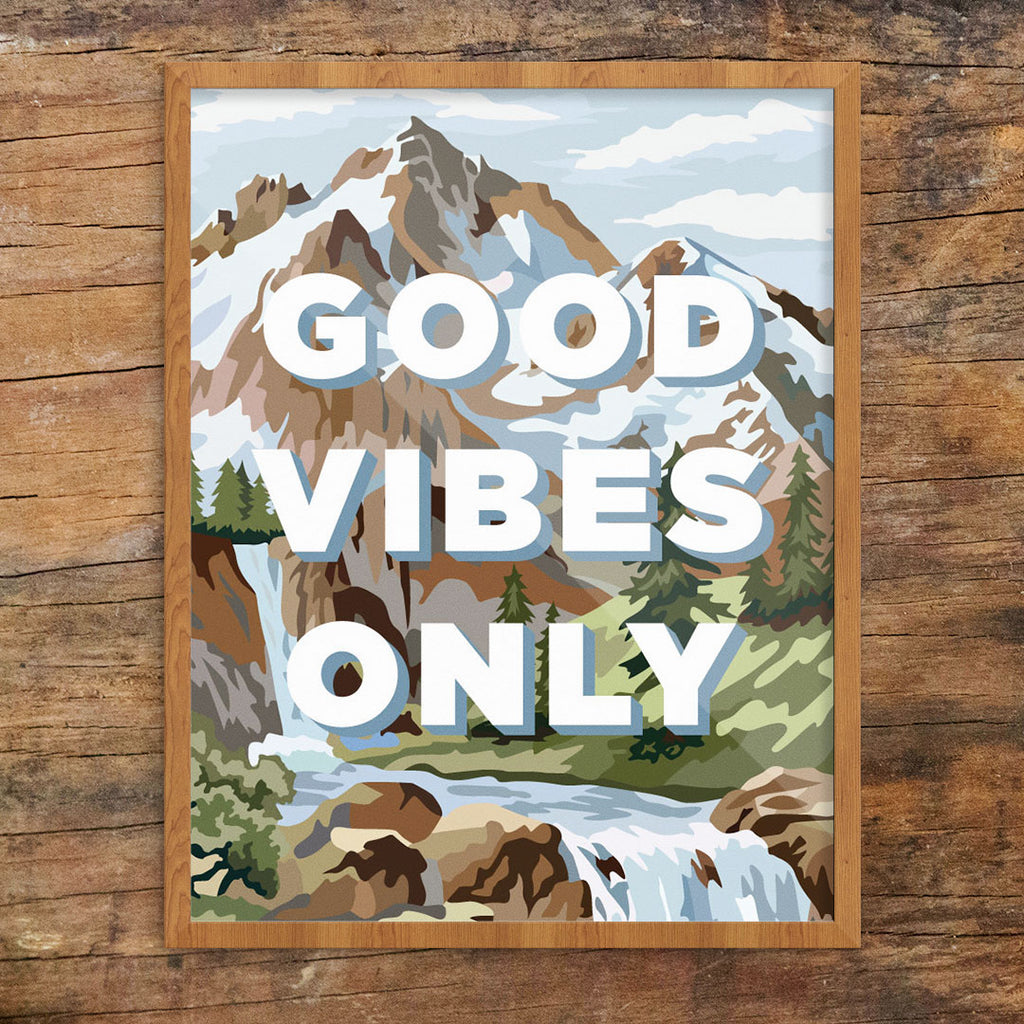 Good Vibes Only PBN Mountain Scene 11 x 14 Print