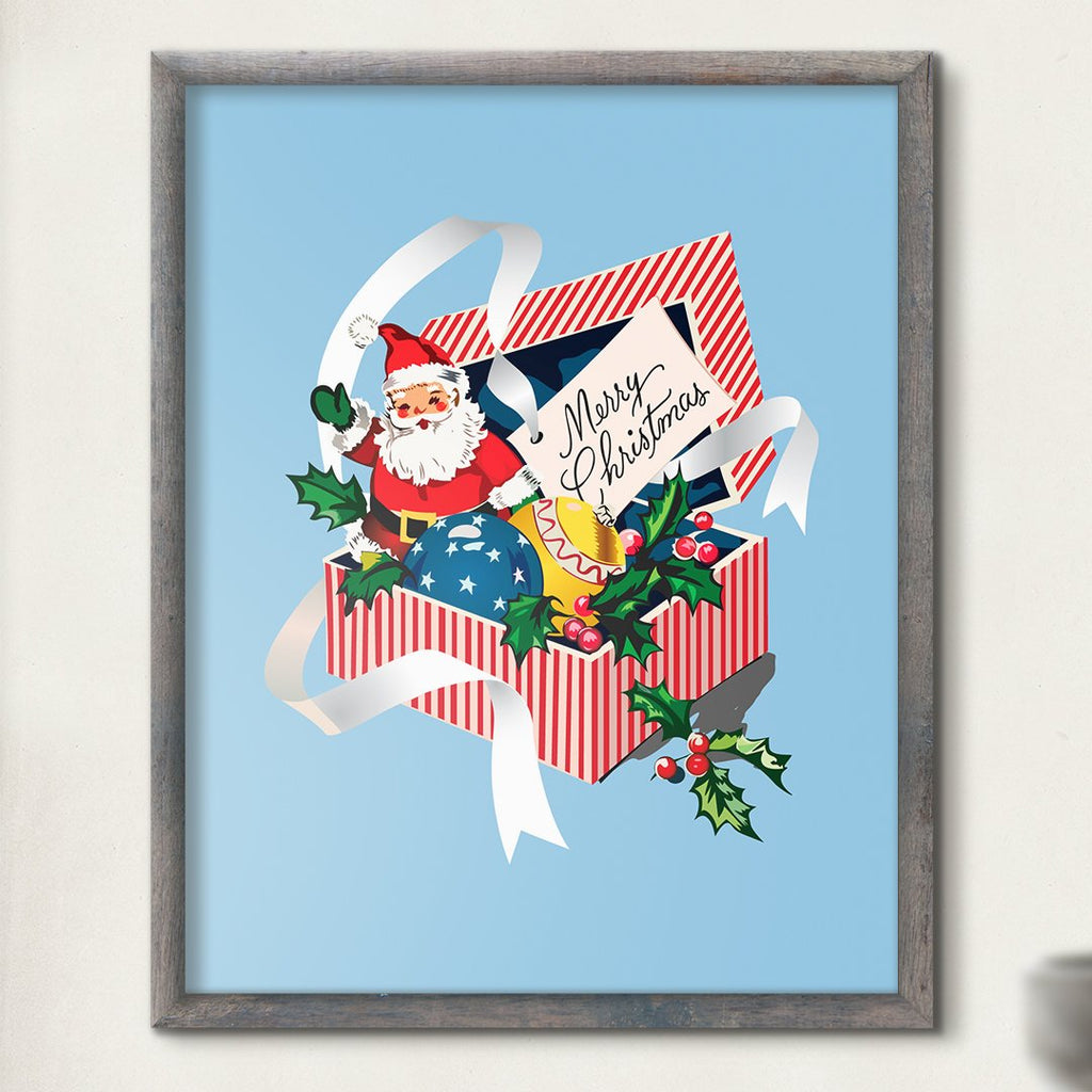 Merry Christmas Santa & Gift Box Print