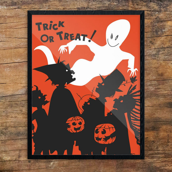 Halloween Trick or Treaters & Ghost Print