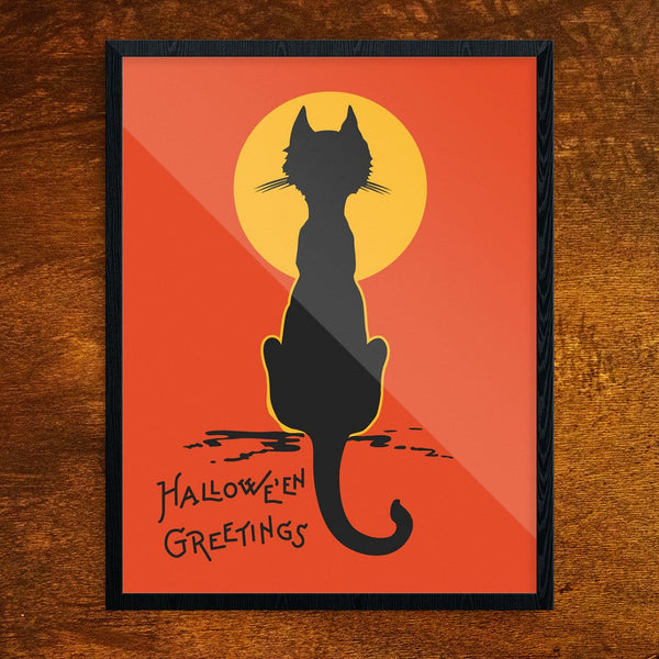Halloween Greetings Cat & Moon Print