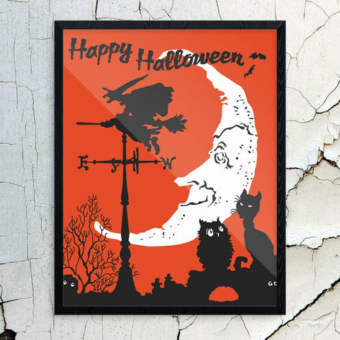 Happy Halloween Witch & Moon Print