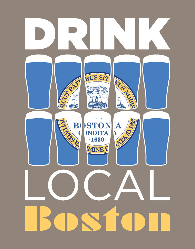 Drink Local Beer Glasses Boston Magnet