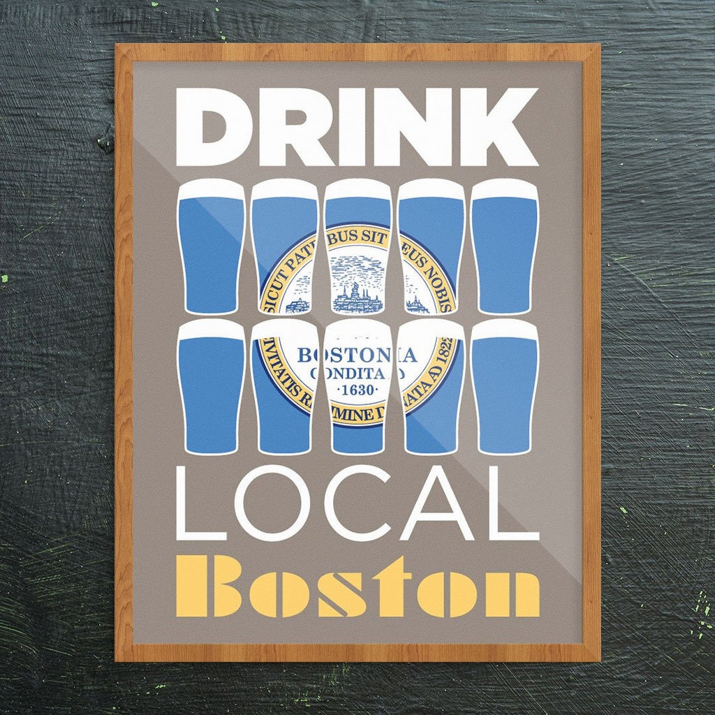 Drink Local Beer Glasses Print