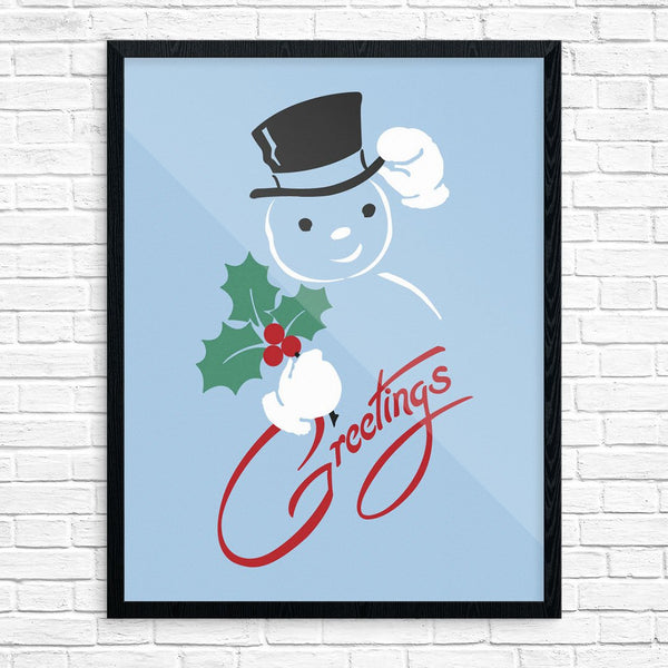 Snowman Holiday Greetings 11 x 14 Print