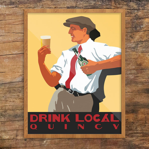 Scally Cap Guy Drink Local Quincy Print