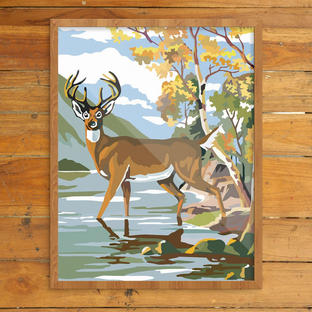 Paint By Number Deer & Lake Print